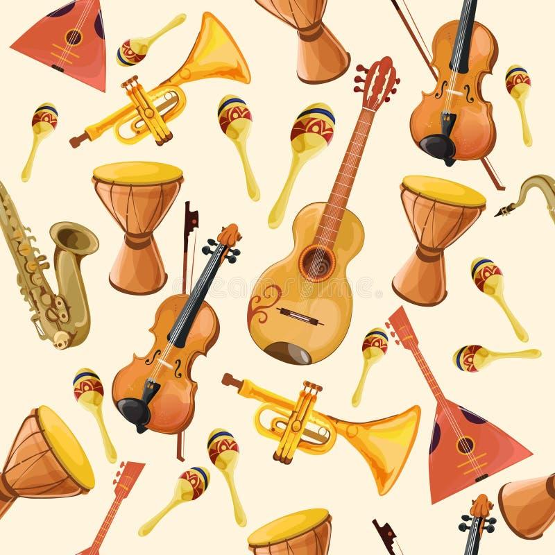 Άνευ ραφής σχέδιο οργάνων μουσικής διανυσματική απεικόνιση