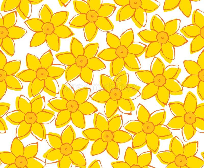 Άνευ ραφής σχέδιο λουλουδιών άνοιξη κίτρινο στο λευκό στοκ φωτογραφίες