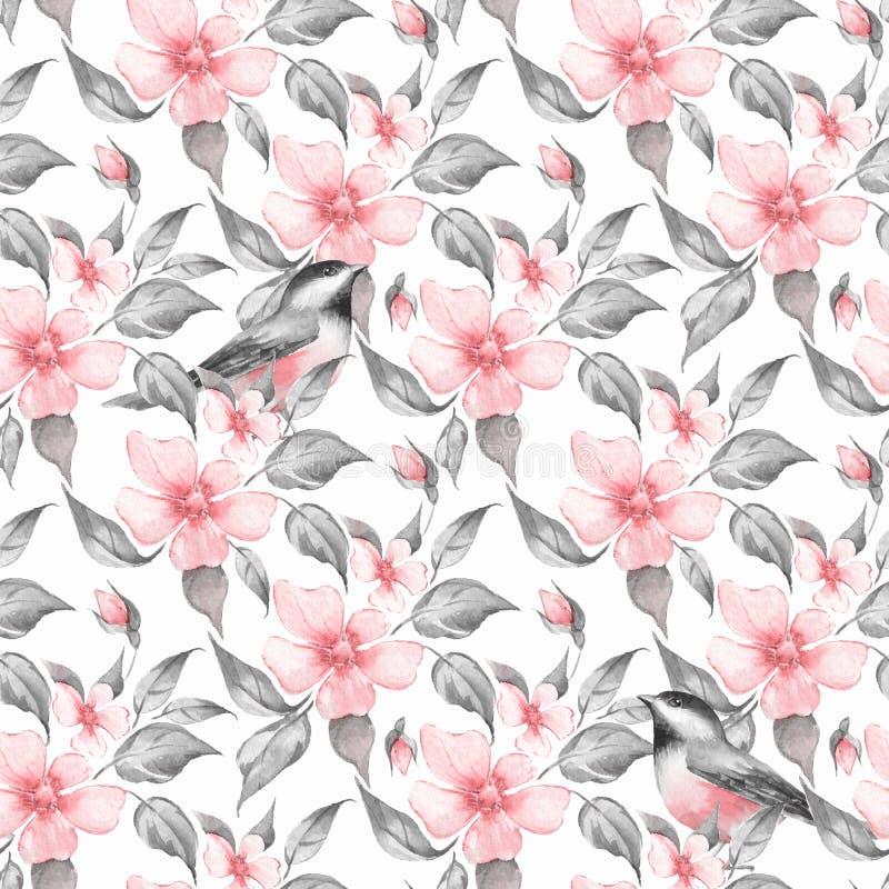 Άνευ ραφής σχέδιο λουλουδιών και πουλιών άνοιξη διανυσματική απεικόνιση