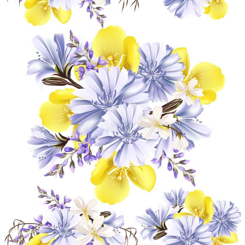 Άνευ ραφής σχέδιο λουλουδιών με τα λουλούδια διανυσματική απεικόνιση