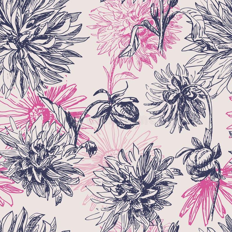 Άνευ ραφής σχέδιο λουλουδιών νταλιών κομψότητας εκλεκτής ποιότητας απεικόνιση αποθεμάτων