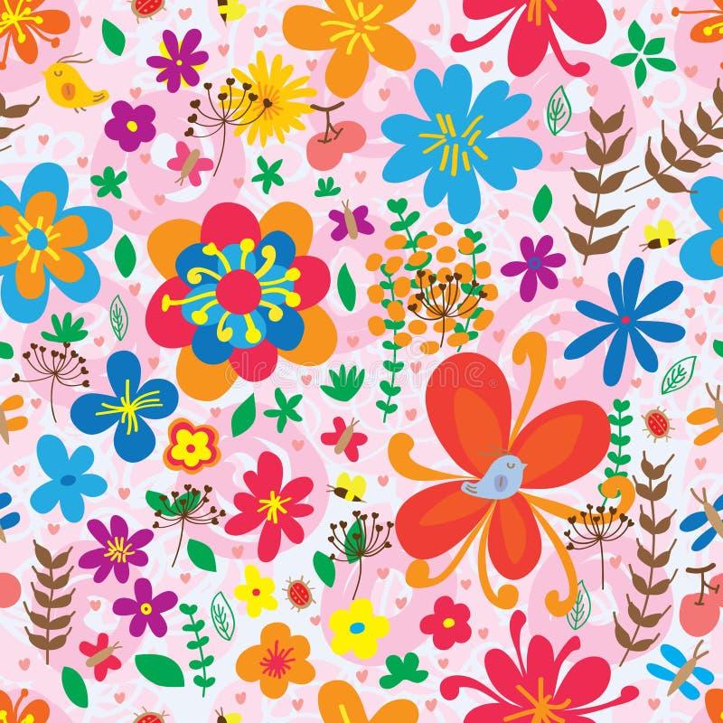 Άνευ ραφής σχέδιο λουλουδιών πεταλούδων λιβελλουλών πουλιών ladybug απεικόνιση αποθεμάτων