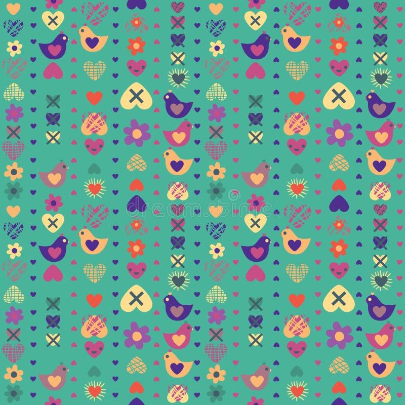 Άνευ ραφής σχέδιο λουλουδιών πουλιών καρδιών στο μπλε υπόβαθρο απεικόνιση αποθεμάτων