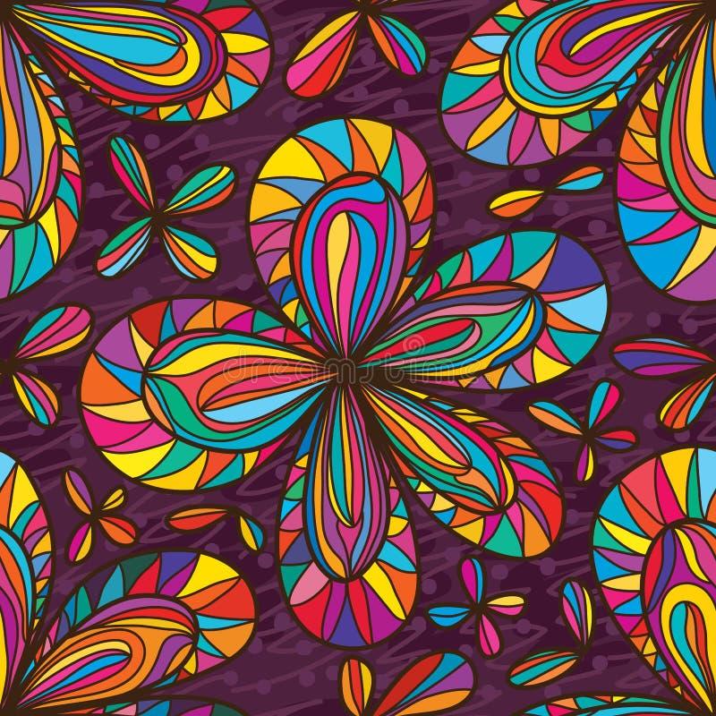 Άνευ ραφής σχέδιο λουλουδιών χρώματος πέντε πετάλων απεικόνιση αποθεμάτων
