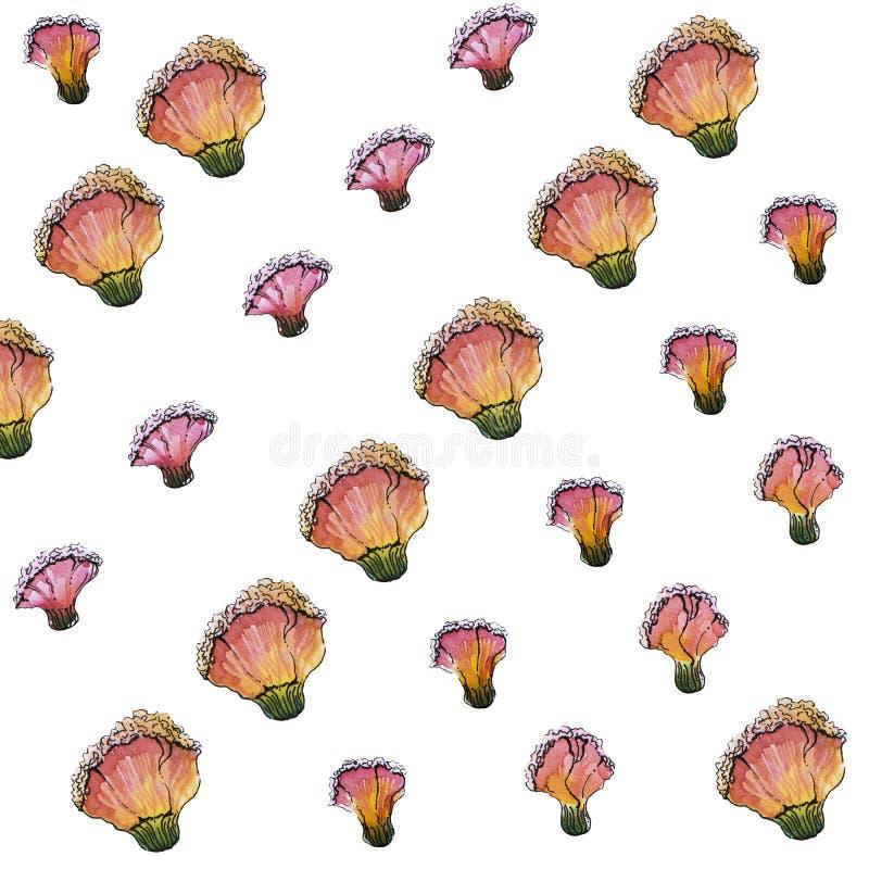 Άνευ ραφής σχέδιο λουλουδιών Watercolor, άσπρο υπόβαθρο στοκ εικόνες