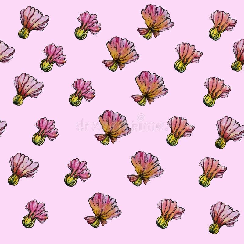 Άνευ ραφής σχέδιο λουλουδιών Watercolor, ρόδινο υπόβαθρο στοκ φωτογραφίες με δικαίωμα ελεύθερης χρήσης