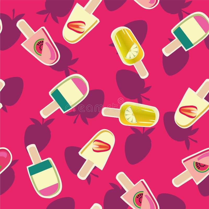 Άνευ ραφής σχέδιο παγωτών φρούτων απεικόνιση αποθεμάτων