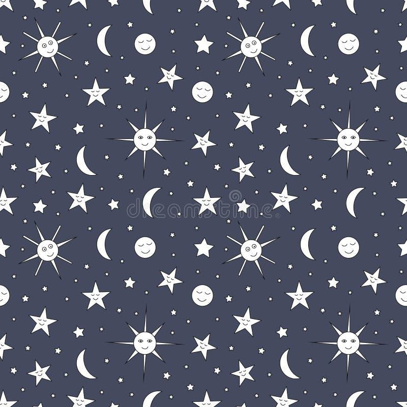Άνευ ραφής σχέδιο παιδιών του νυχτερινού ουρανού με τον ήλιο, το φεγγάρι και τα αστέρια ελεύθερη απεικόνιση δικαιώματος