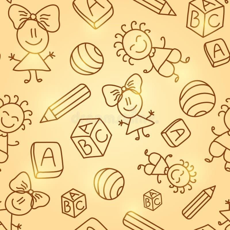 Άνευ ραφής σχέδιο παιδιών διανυσματική απεικόνιση