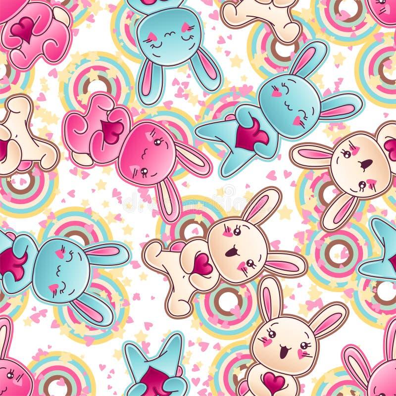 Άνευ ραφής σχέδιο παιδιών kawaii με τα χαριτωμένα doodles διανυσματική απεικόνιση