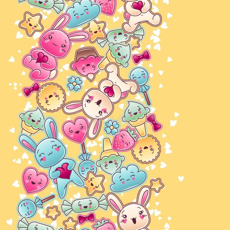 Άνευ ραφής σχέδιο παιδιών kawaii με τα χαριτωμένα doodles ελεύθερη απεικόνιση δικαιώματος