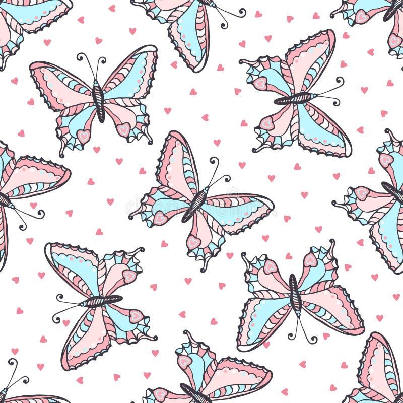 Άνευ ραφής σχέδιο πεταλούδων στο ύφος doodle Συρμένη χέρι διανυσματική απεικόνιση πεταλούδων για το ύφασμα κλωστοϋφαντουργικό προ ελεύθερη απεικόνιση δικαιώματος