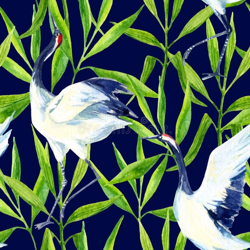 Άνευ ραφής σχέδιο πουλιών γερανών Watercolor ασιατικό διανυσματική απεικόνιση