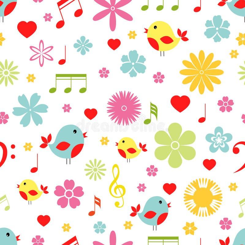 Άνευ ραφής σχέδιο πουλιών λουλουδιών και σημειώσεων μουσικής απεικόνιση αποθεμάτων