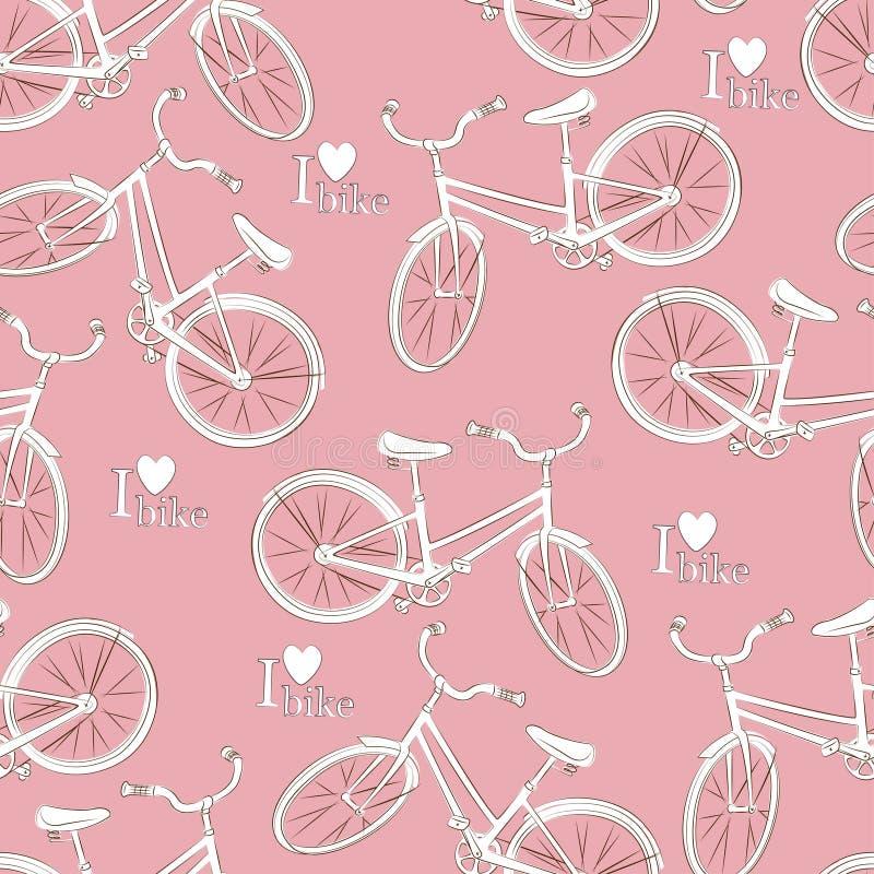 Άνευ ραφής σχέδιο ποδηλάτων διανυσματική απεικόνιση