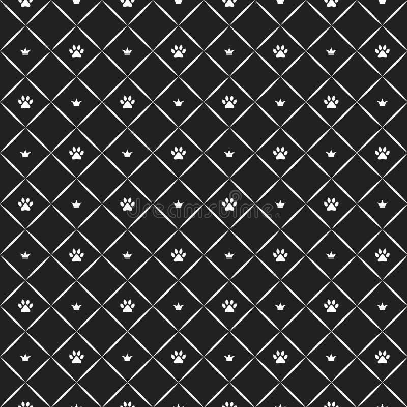 Άνευ ραφής σχέδιο ποδιών γατών πολυτέλειας με τις κορώνες Γραπτή τυπωμένη ύλη επίσης corel σύρετε το διάνυσμα απεικόνισης απεικόνιση αποθεμάτων