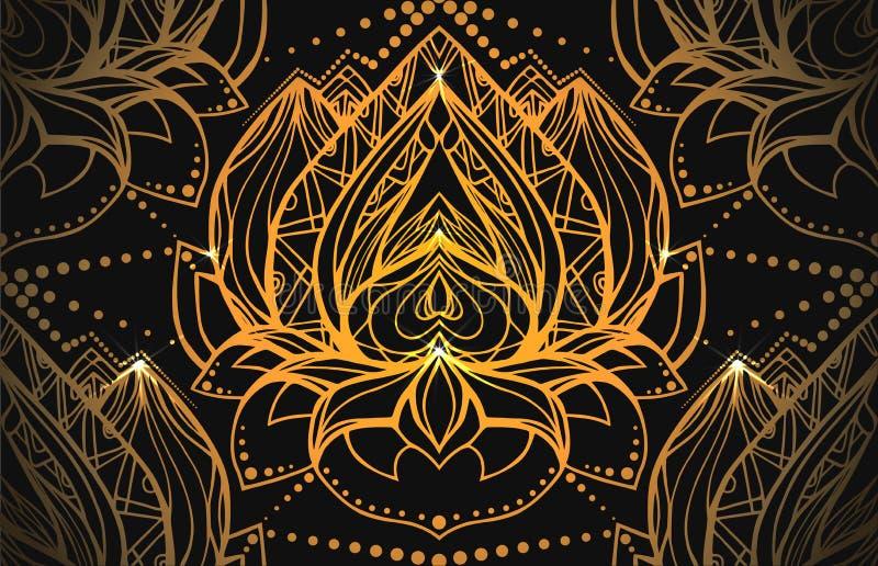 Άνευ ραφής σχέδιο πολυτέλειας με το χρυσό Lotus με το σχέδιο boho ελεύθερη απεικόνιση δικαιώματος