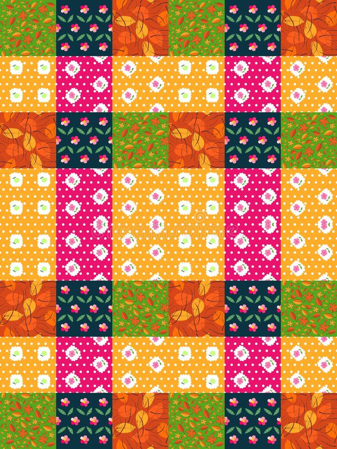 Άνευ ραφής σχέδιο προσθηκών από τα φωτεινά ζωηρόχρωμα μπαλώματα με τα φύλλα και τα λουλούδια ελεύθερη απεικόνιση δικαιώματος