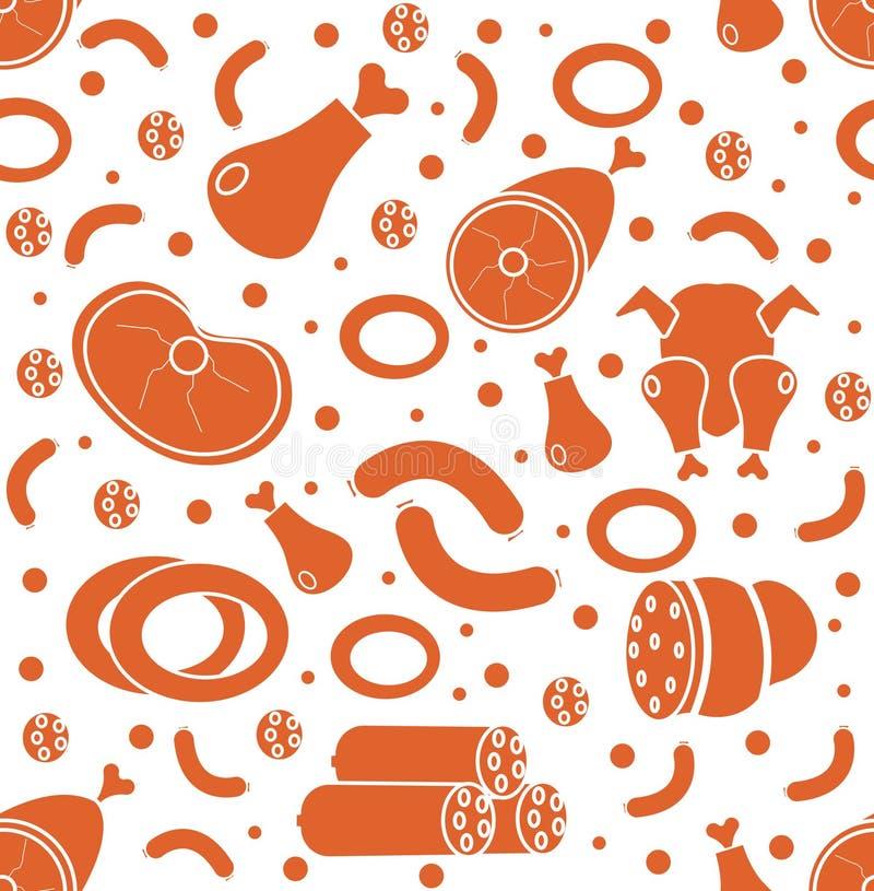 Άνευ ραφής σχέδιο προϊόντων κρέατος, επίπεδο ύφος Κρέατα και ατελείωτο υπόβαθρο λουκάνικων, σύσταση επίσης corel σύρετε το διάνυσ απεικόνιση αποθεμάτων