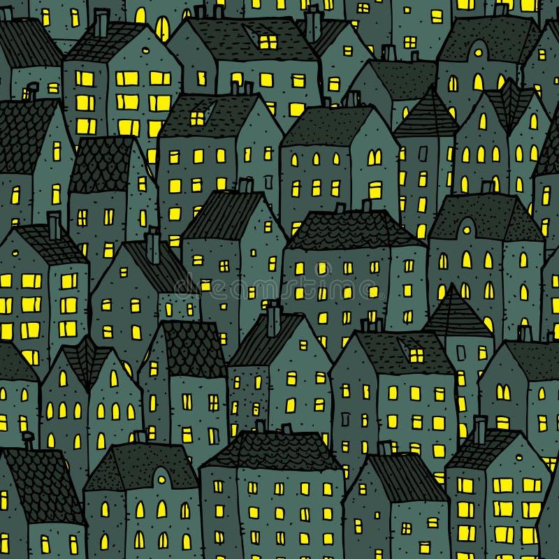 Άνευ ραφής σχέδιο πόλεων τη νύχτα ελεύθερη απεικόνιση δικαιώματος