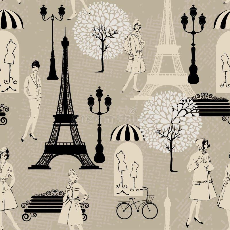 Άνευ ραφής σχέδιο - πύργος Effel, φωτεινοί σηματοδότες απεικόνιση αποθεμάτων