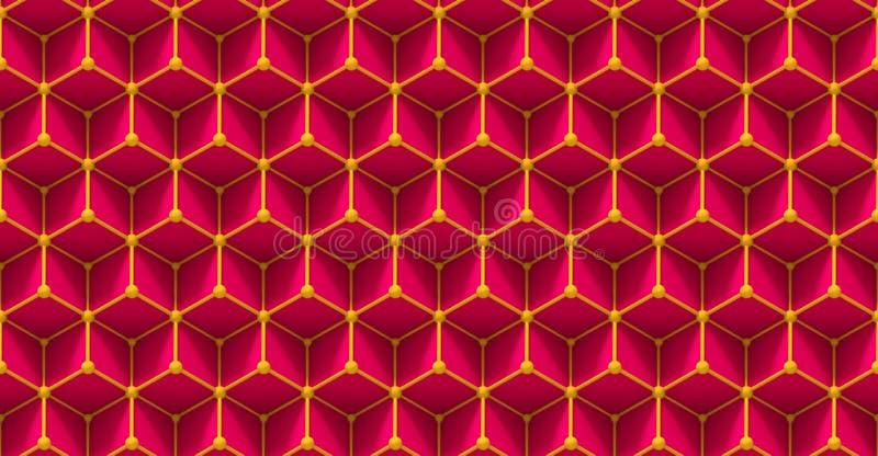 Άνευ ραφής σχέδιο πλέγματος των τρισδιάστατων κύβων και των μικρών σφαιρών στο ροζ και κίτρινος ελεύθερη απεικόνιση δικαιώματος