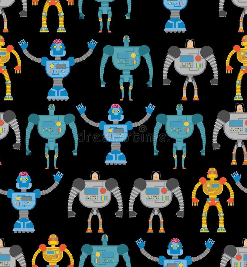 Άνευ ραφής σχέδιο ρομπότ Κοσμικό άνευ ραφής σχέδιο cyborgs Textur ελεύθερη απεικόνιση δικαιώματος