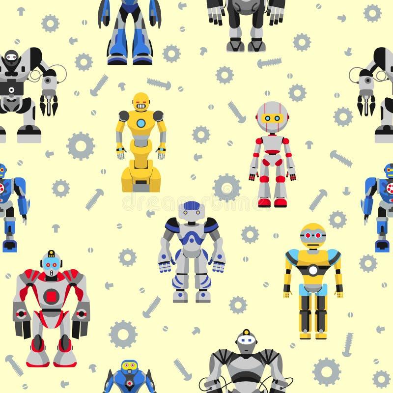 Άνευ ραφής σχέδιο ρομπότ ελεύθερη απεικόνιση δικαιώματος