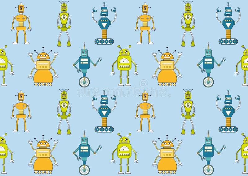 Άνευ ραφής σχέδιο ρομπότ διανυσματική απεικόνιση