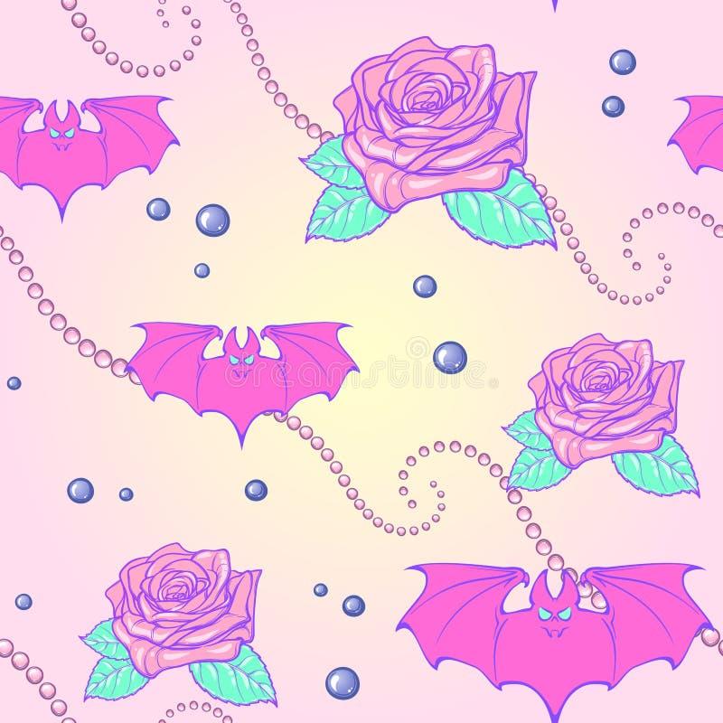 Άνευ ραφής σχέδιο ροπάλων και μαργαριταριών φεγγαριών κρητιδογραφιών goth ελεύθερη απεικόνιση δικαιώματος