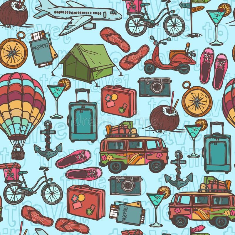 Άνευ ραφής σχέδιο σκίτσων ταξιδιού απεικόνιση αποθεμάτων