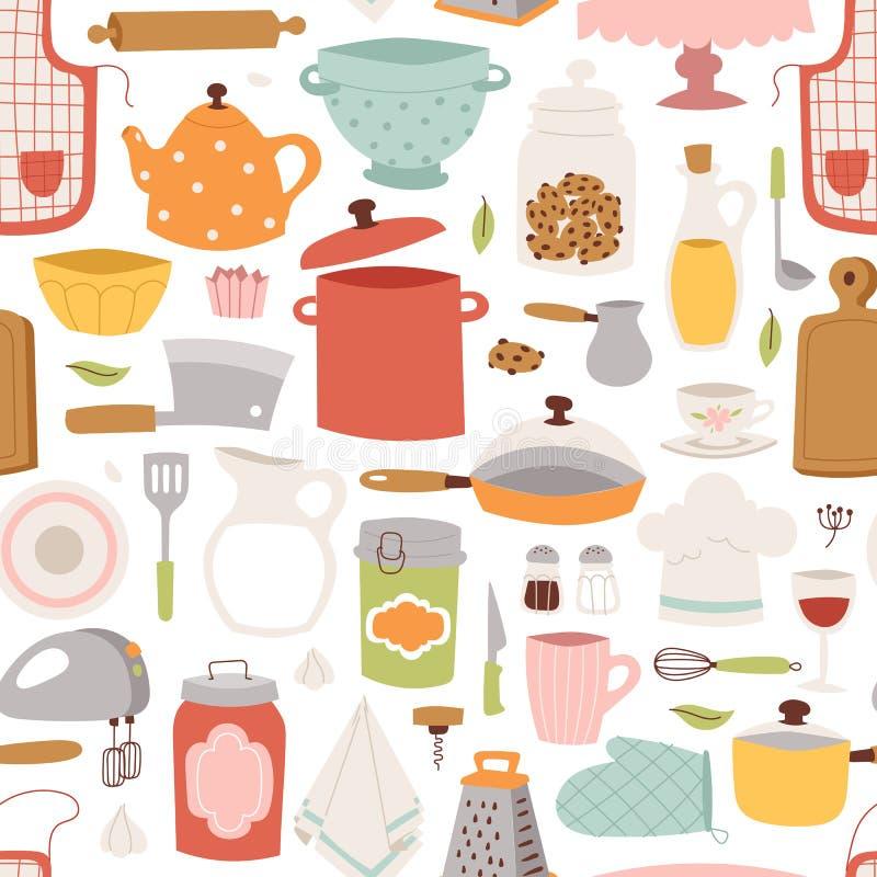 Άνευ ραφής σχέδιο σκευών για την κουζίνα απεικόνιση αποθεμάτων