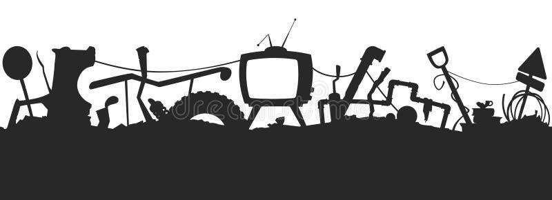 Άνευ ραφής σχέδιο σκιαγραφιών Junkyard στοκ εικόνα με δικαίωμα ελεύθερης χρήσης