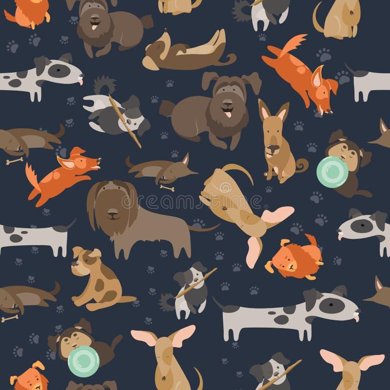Άνευ ραφής σχέδιο σκυλιών κινούμενων σχεδίων απεικόνιση αποθεμάτων