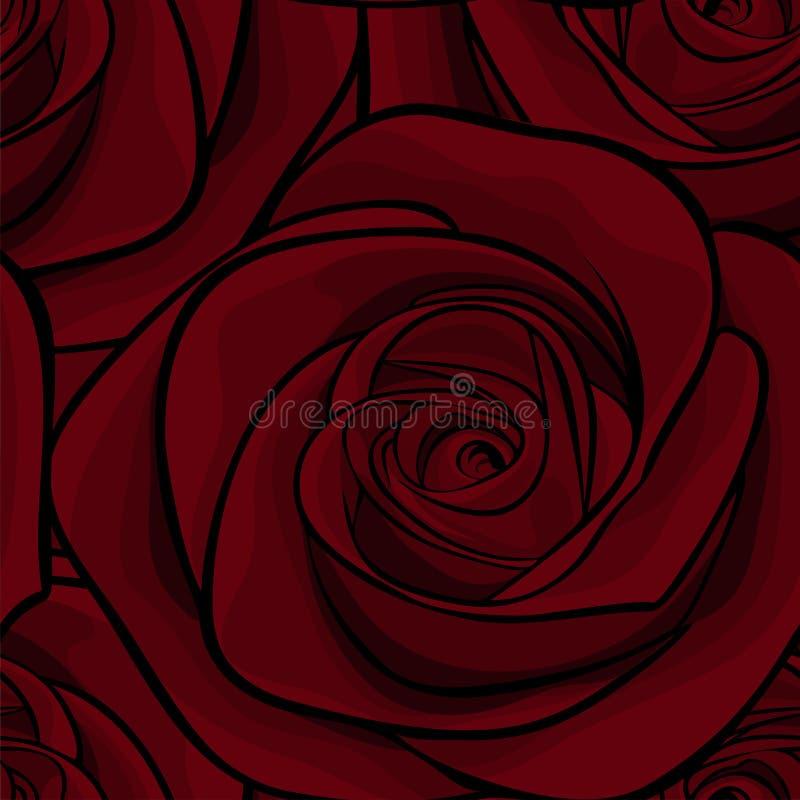 Άνευ ραφής σχέδιο στα κόκκινα τριαντάφυλλα με τα περιγράμματα Hand-drawn γραμμές και κτυπήματα περιγράμματος Τελειοποιήστε για τι ελεύθερη απεικόνιση δικαιώματος
