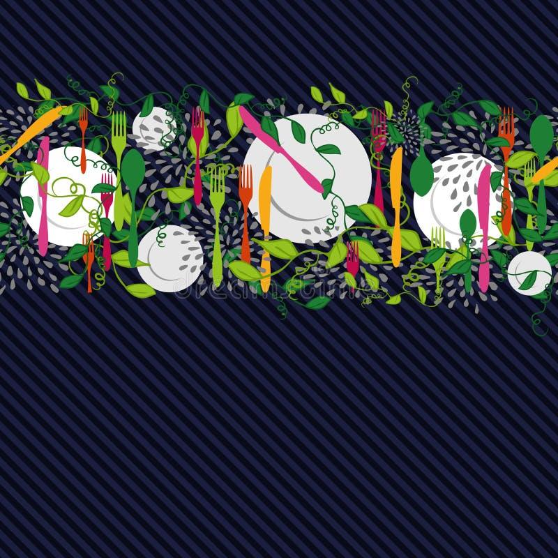 Άνευ ραφής σχέδιο στοιχείων τροφίμων κουζινών ελεύθερη απεικόνιση δικαιώματος
