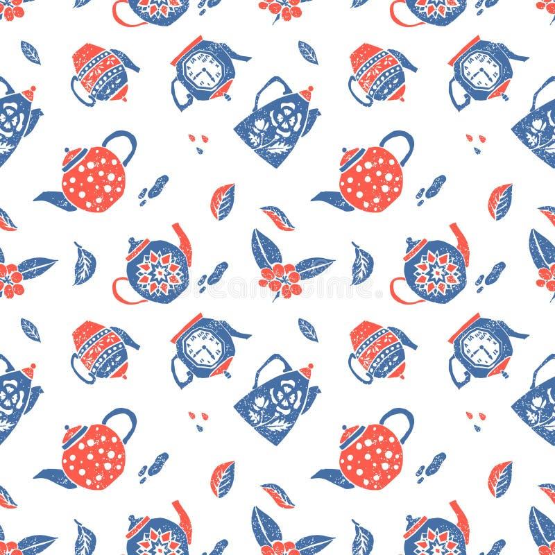Άνευ ραφής σχέδιο στο αφελές ύφος lino, teapots απεικόνιση αποθεμάτων