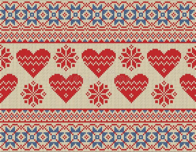 Άνευ ραφής σχέδιο στο θέμα της ημέρας του βαλεντίνου με μια εικόνα των νορβηγικών σχεδίων και των καρδιών Μαλλί πλεκτό ελεύθερη απεικόνιση δικαιώματος