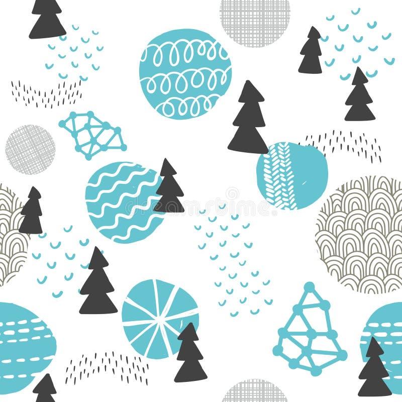 Άνευ ραφής σχέδιο στο σύγχρονο Σκανδιναβικό ύφος ελεύθερη απεικόνιση δικαιώματος