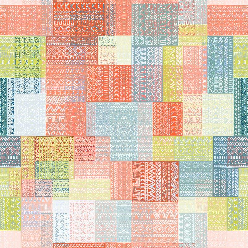 Άνευ ραφής σχέδιο στο ύφος προσθηκών Πολύχρωμο τετραγωνικό patche ελεύθερη απεικόνιση δικαιώματος