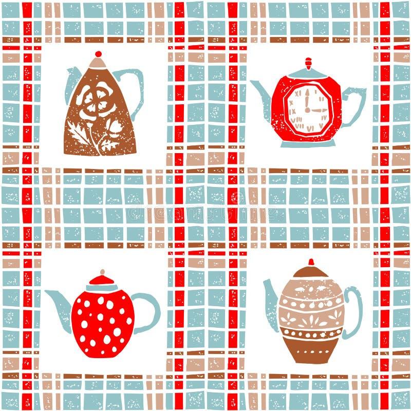Άνευ ραφής σχέδιο στο ύφος lino, teapots, κρητιδογραφία ελεύθερη απεικόνιση δικαιώματος
