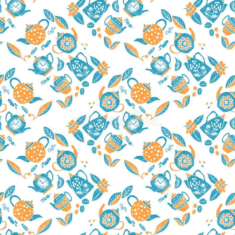 Άνευ ραφής σχέδιο στο ύφος lino, teapots anf φύλλα ελεύθερη απεικόνιση δικαιώματος