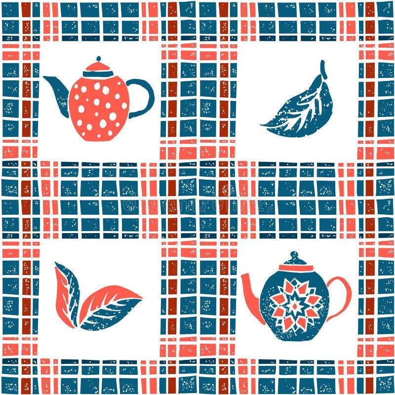 Άνευ ραφής σχέδιο στο ύφος, teapots και το καρό lino ελεύθερη απεικόνιση δικαιώματος
