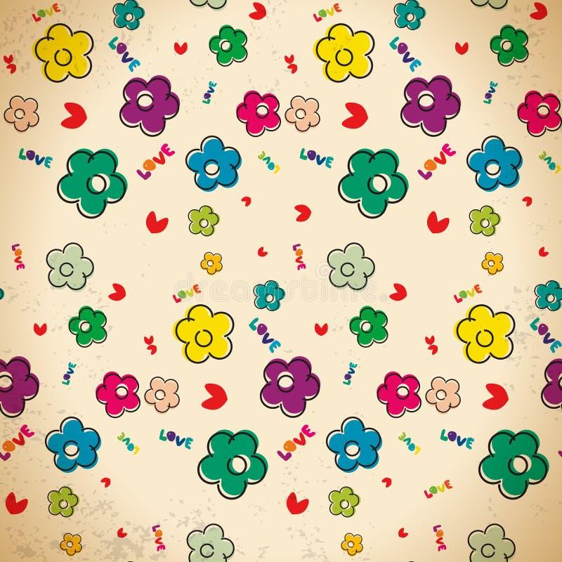 Άνευ ραφής σχέδιο συρμένων των χέρι λουλουδιών στο εκλεκτής ποιότητας ύφος απεικόνιση αποθεμάτων