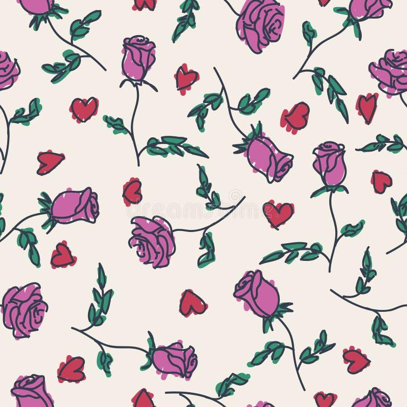 Άνευ ραφής σχέδιο συρμένων των χέρι τριαντάφυλλων απεικόνιση αποθεμάτων