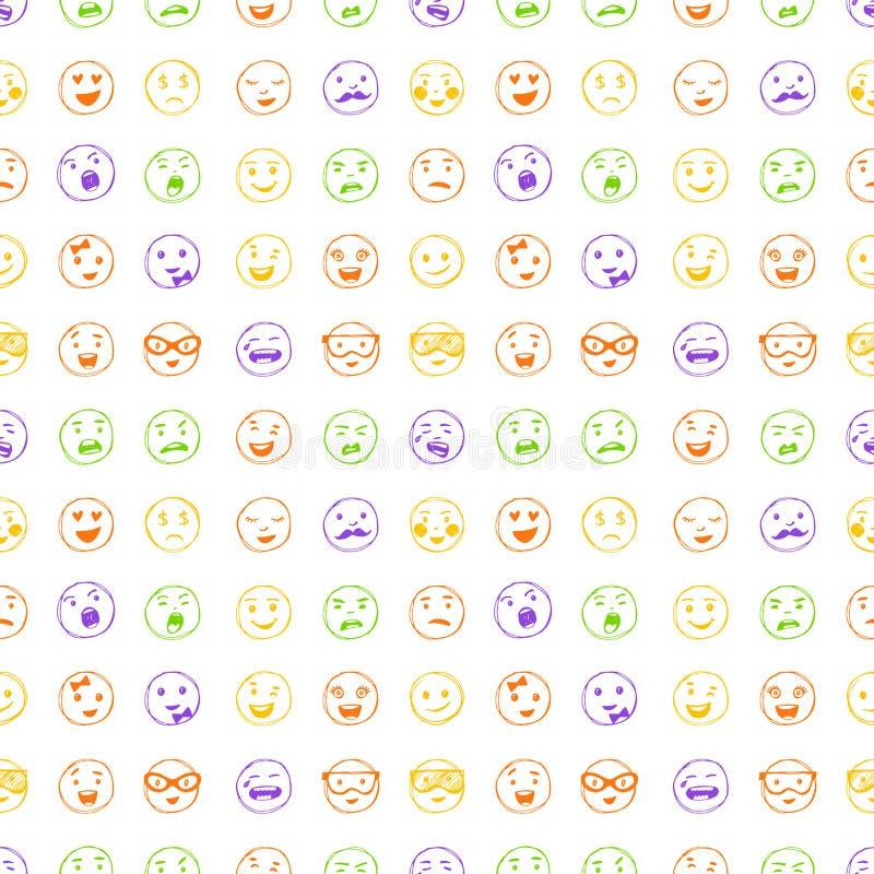 Άνευ ραφής σχέδιο συρμένων των χέρι χαμόγελων γραμμών χρώματος διανυσματική απεικόνιση