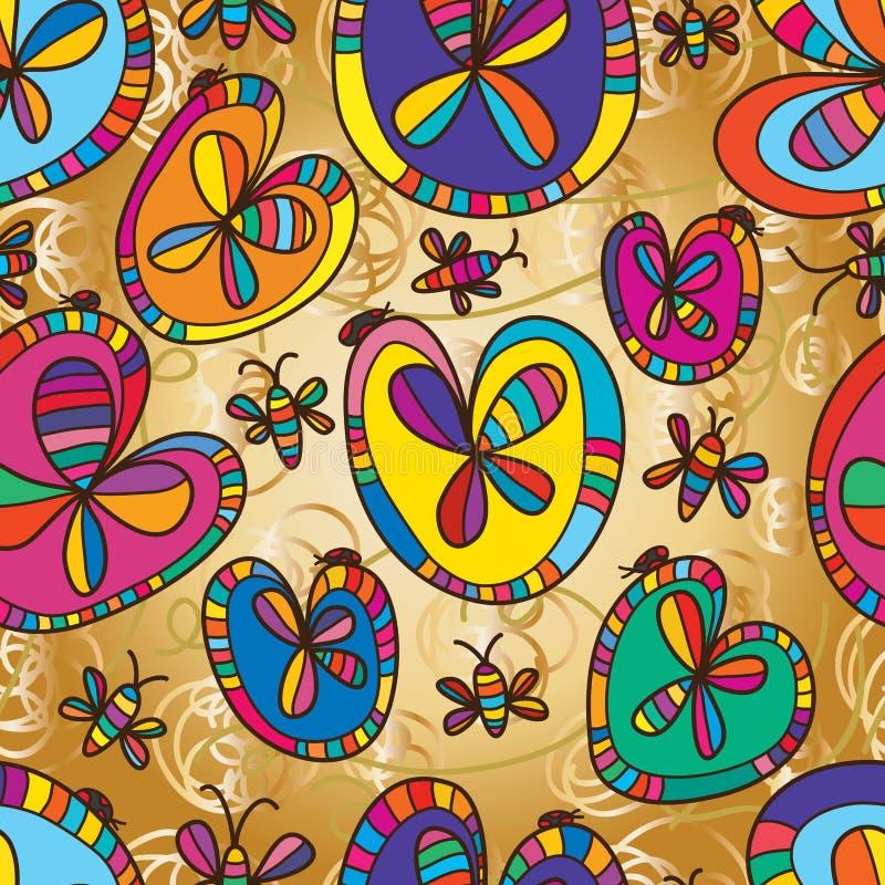 Άνευ ραφής σχέδιο σχεδίου ζωύφιου λουλουδιών φύλλων αγάπης διανυσματική απεικόνιση