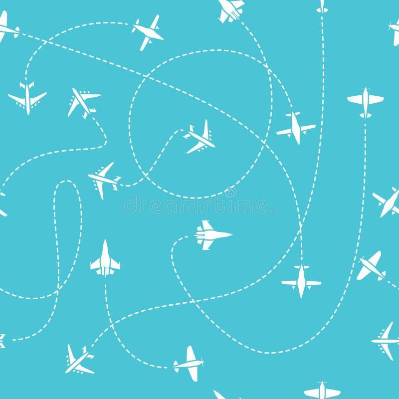 Άνευ ραφής σχέδιο ταξιδιού αεροπλάνων Κόσμος που ταξιδεύει το μπλε ατελείωτο διανυσματικό υπόβαθρο με τις ορμούμενες γραμμές πορε απεικόνιση αποθεμάτων