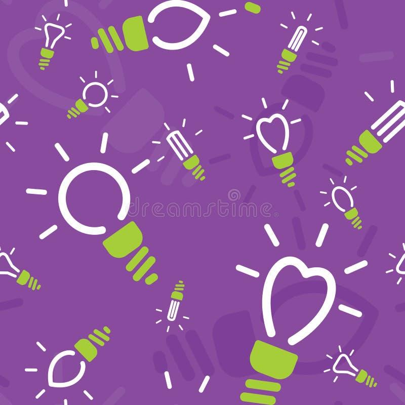 Άνευ ραφής σχέδιο της ενέργειας - λαμπτήρες αποταμίευσης απεικόνιση αποθεμάτων