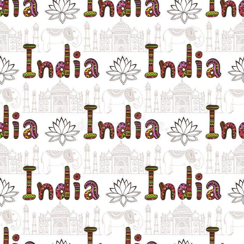 Άνευ ραφής σχέδιο της Ινδίας με Taj Mahal και τα στοιχεία πολιτισμού Διανυσματικό υπόβαθρο ταξιδιού Εγγραφή γραφής απεικόνιση αποθεμάτων